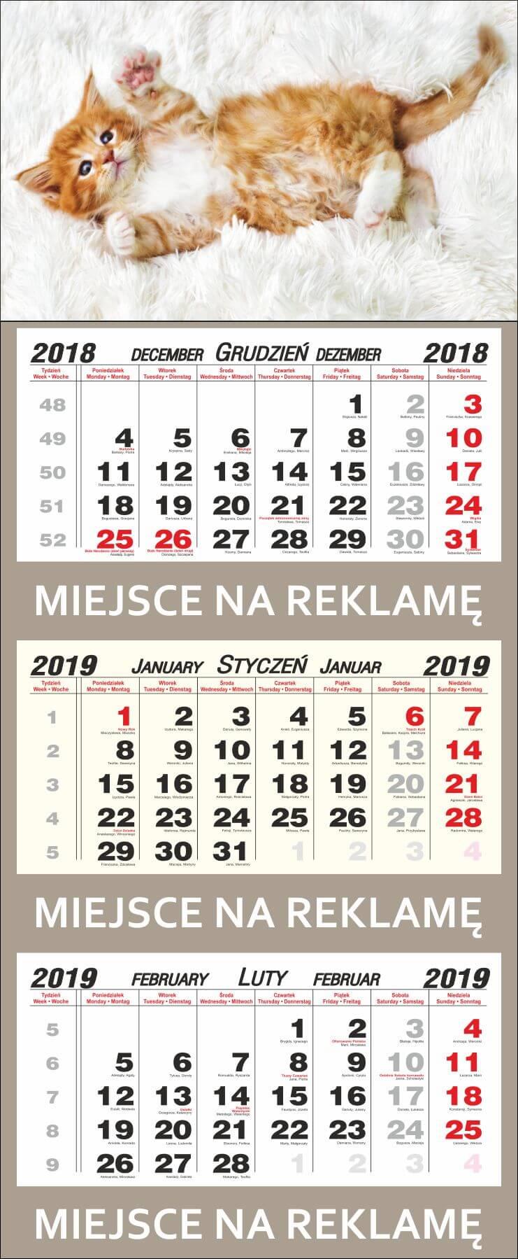 kalendarze trojdzielne 2021 warszawa
